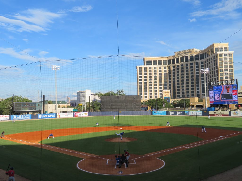 Overview of a baseball field with the Beau Rivage casino overlooking the stadium from right field.