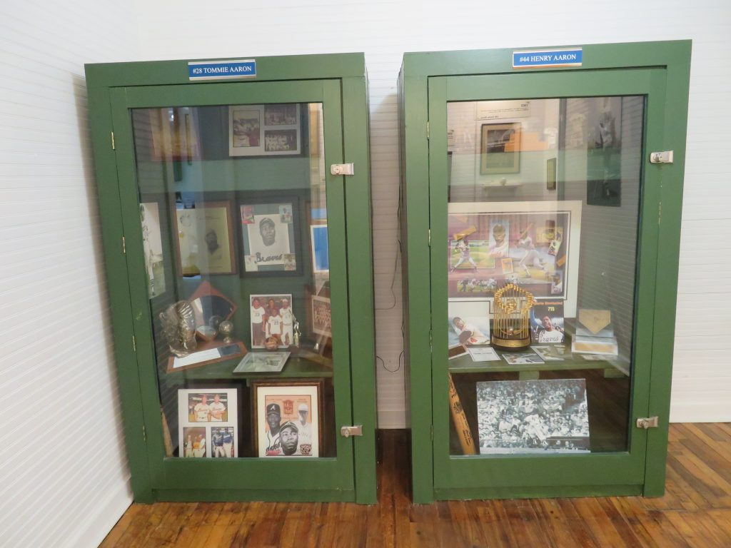 Pair of baseball lockers with memorabilia chronicling the careers of Henry and Tommie Aaron at the Hank Aaron Childhood Home and Museum.