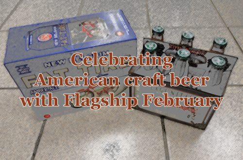 """A black-and-white image of a twelve-pack of New Belgium Fat Tire and a six-pack of Lagunitas A Little Sumpin' Sumpin' Ale with text overlaying that says """"Celebrating American craft beer with Flagship February."""""""