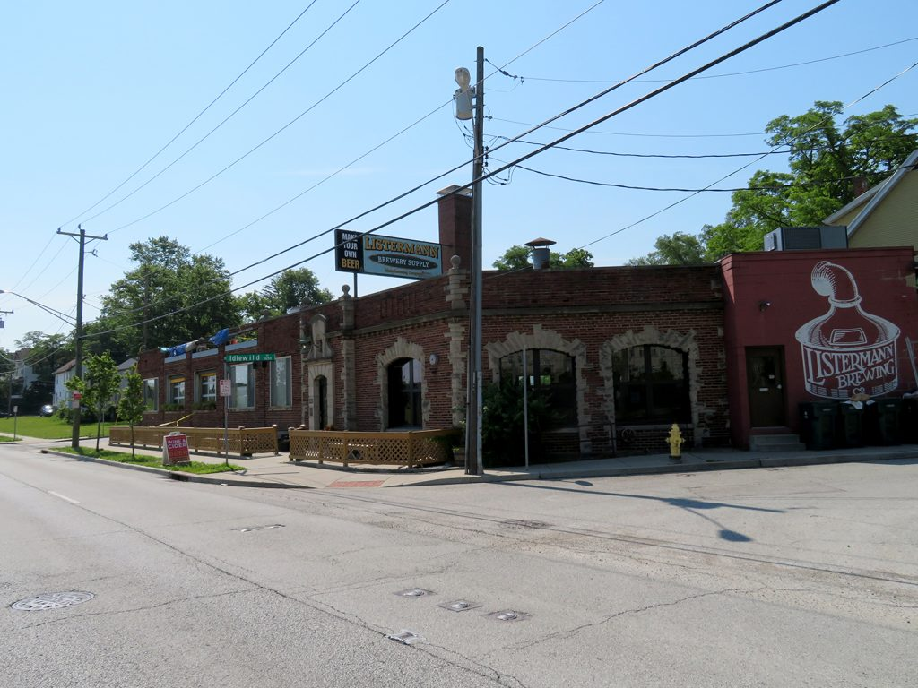 A large brick building that is home to Listermann Brewing at the corner of Idelwild and Dana avenues.