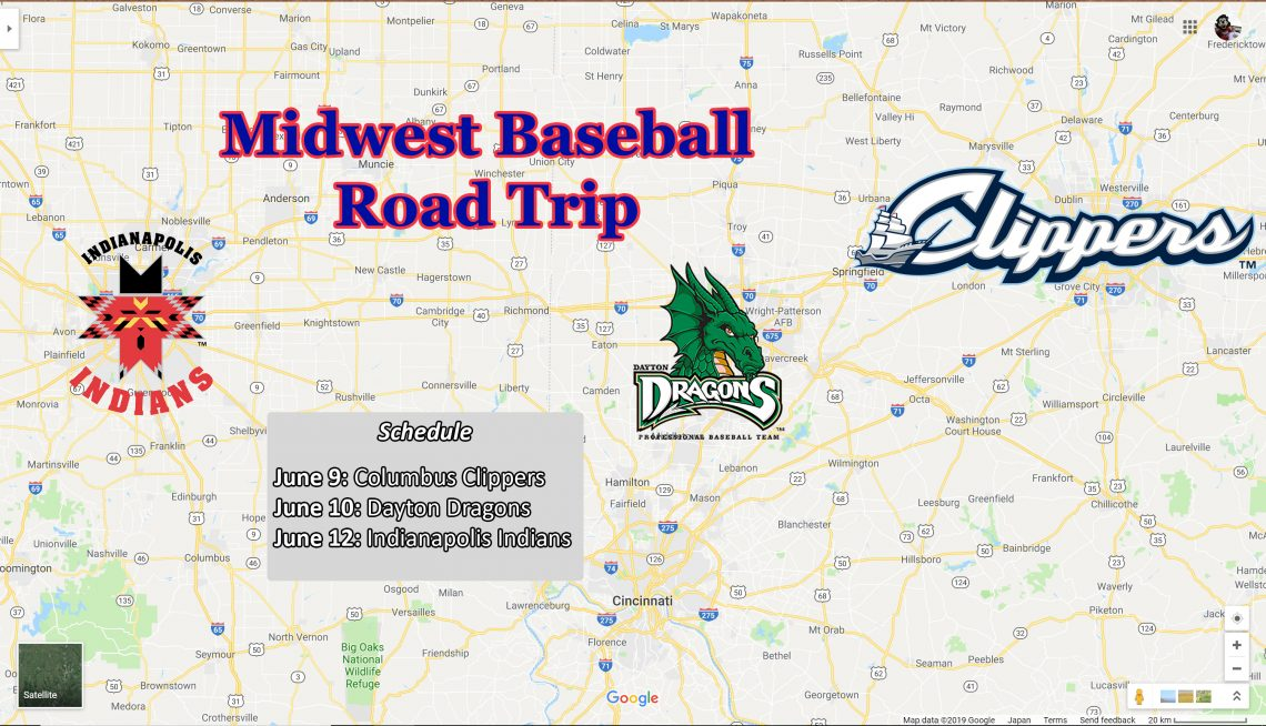 "A map of Indiana and Ohio with text overlaying that says ""Midwest Baseball Road Trip"" that includes logos for the Columbus Clippers, Dayton Dragons, and Indianapolis Indians."
