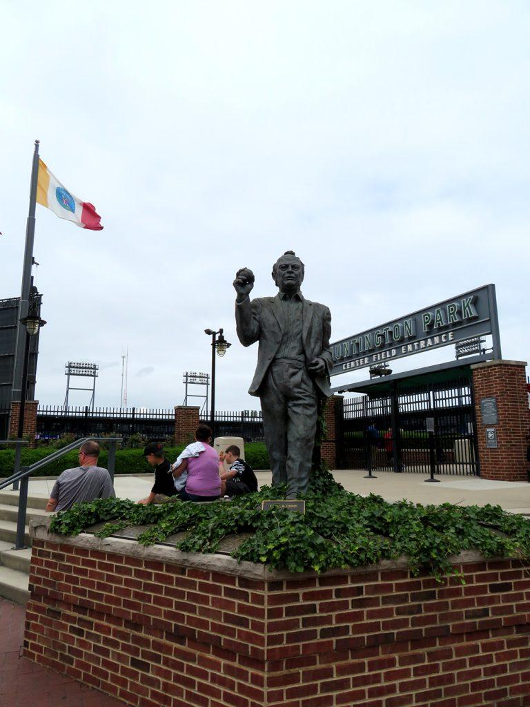 Bronze statue of Harold M. Cooper outside of Huntington Park.