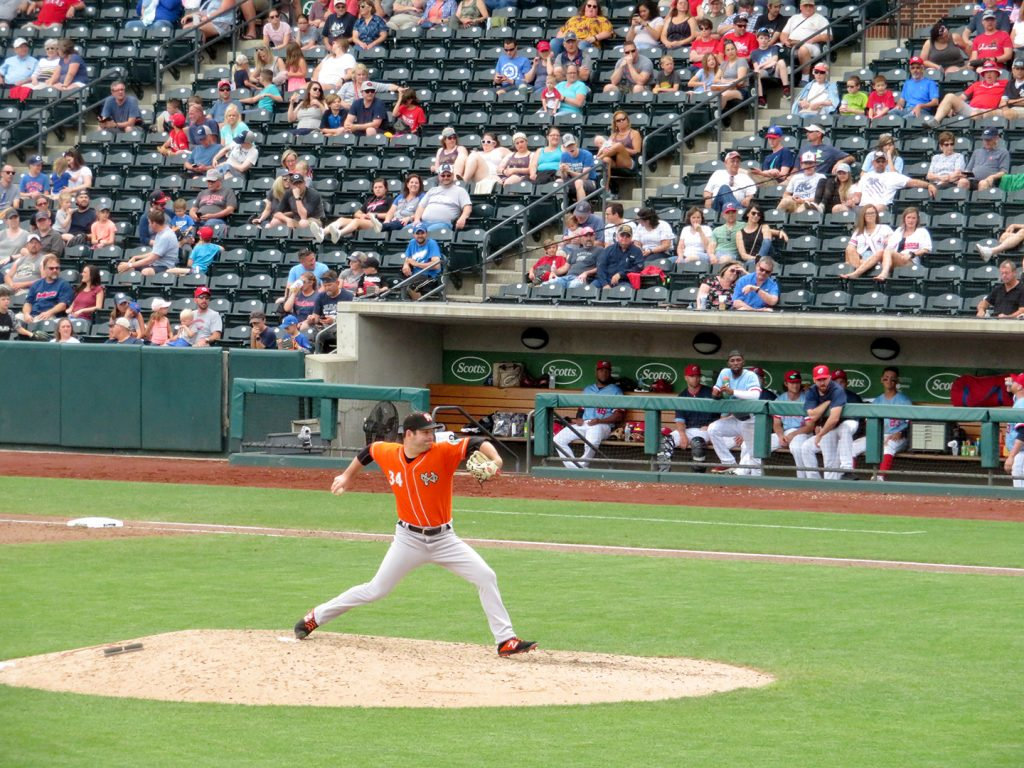 Norfolk Tides right-handed pitcher Matt Wotherspoon delivers a pitch in a baseball game against the Columbus Clippers.