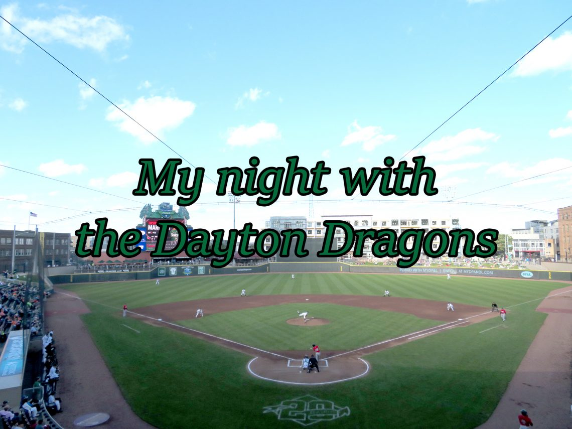"Overview of a baseball field with text overlaying it that says ""My night with the Dayton Dragons."""