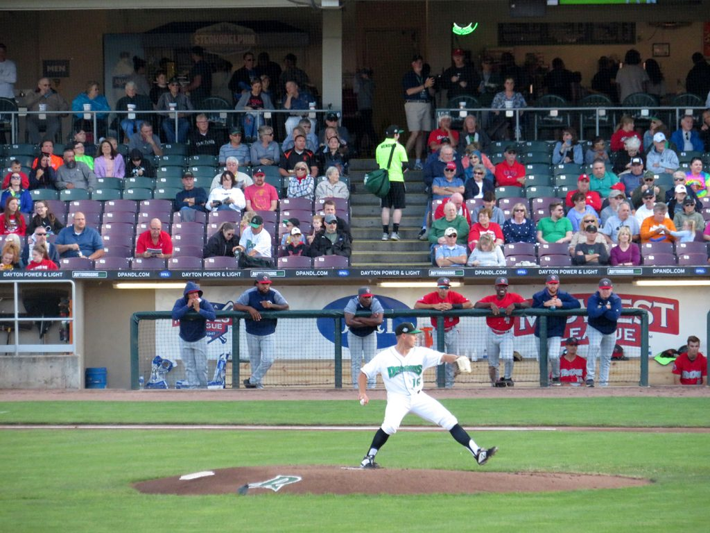 Dayton Dragons right-handed pitcher Jared Solomon prepares to deliver a pitch against the Fort Wayne TinCaps.