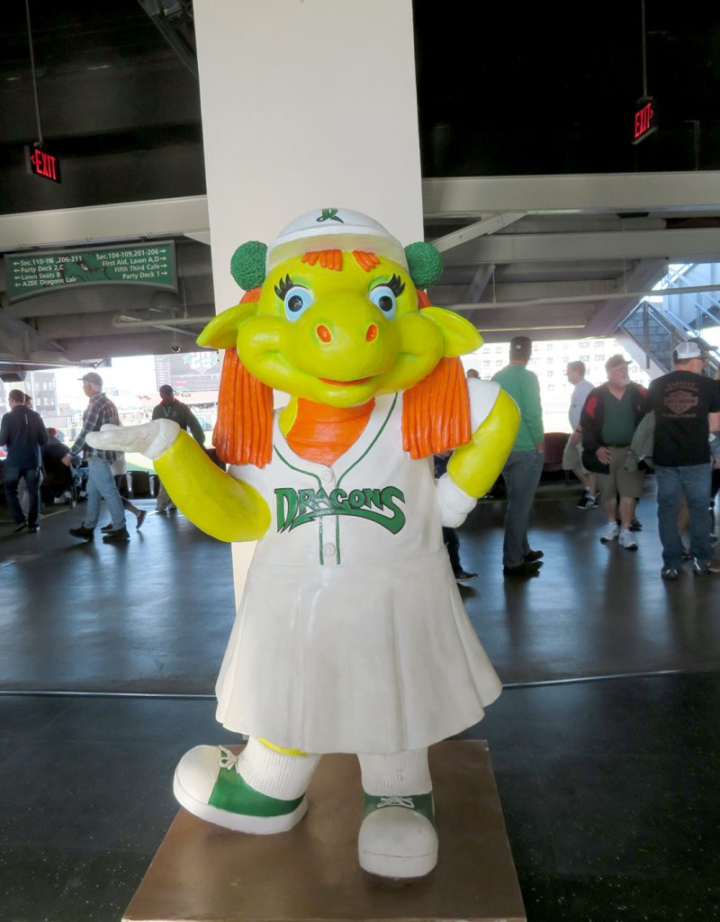 A statue of female anthropomorphic dragon mascot for the Dayton Dragons called Gem.