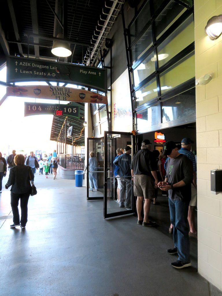 A hanging sign shows entrance to Samuel Adams Pub at Fifth Third Field.