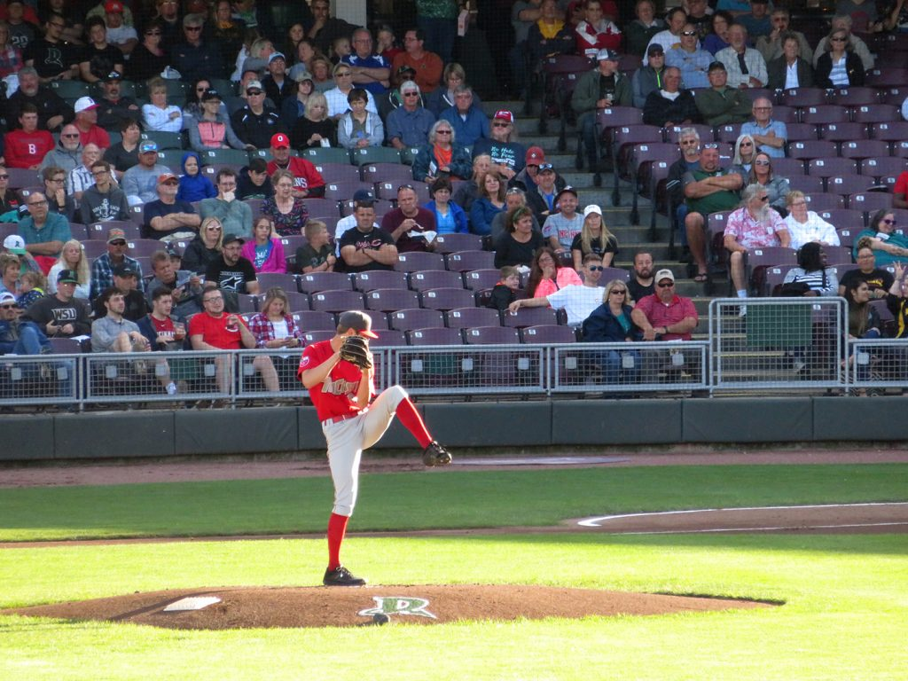 Fort Wayne TinCaps right-handed pitcher Gabe Mosser prepares to deliver a pitch in a baseball game against the Dayton Dragons.