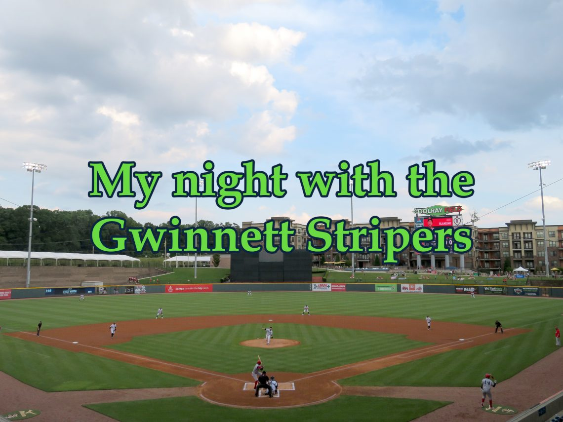 "Overview of a baseball field with text saying ""My night with the Gwinnett Stripers"" overlaying the image."