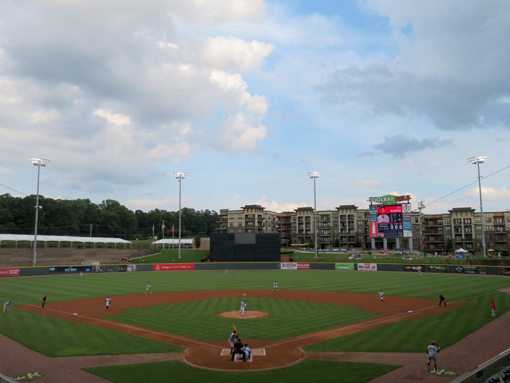 Overview of a baseball field as a pitcher throws a pitch during a Gwinnett Stripers game at Coolray Field.