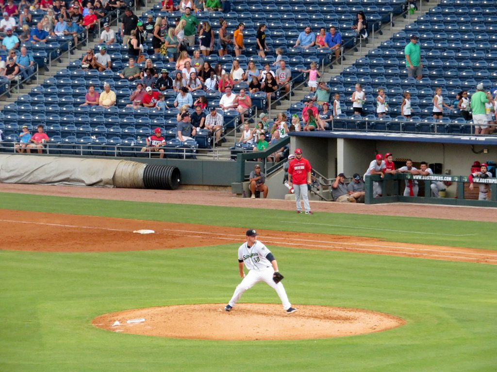 Gwinnett Stripers right-handed pitcher Patrick Weigel prepares to deliver a pitch during a game.