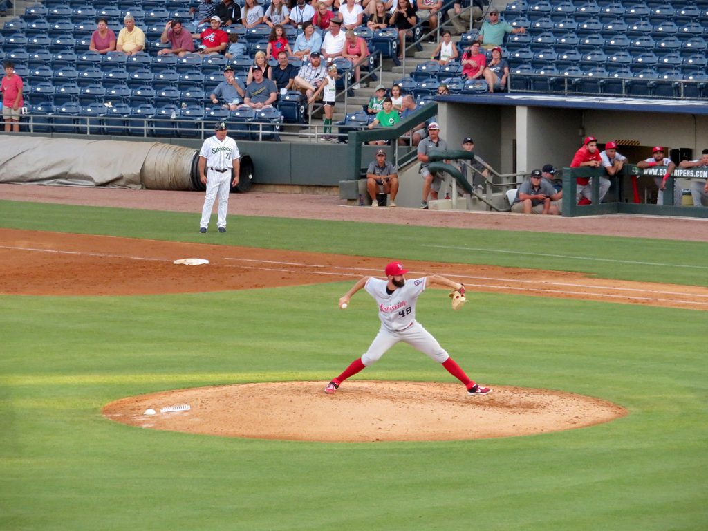 Louisville Bats right-handed pitcher Tejay Antone delivers a pitch during a game.