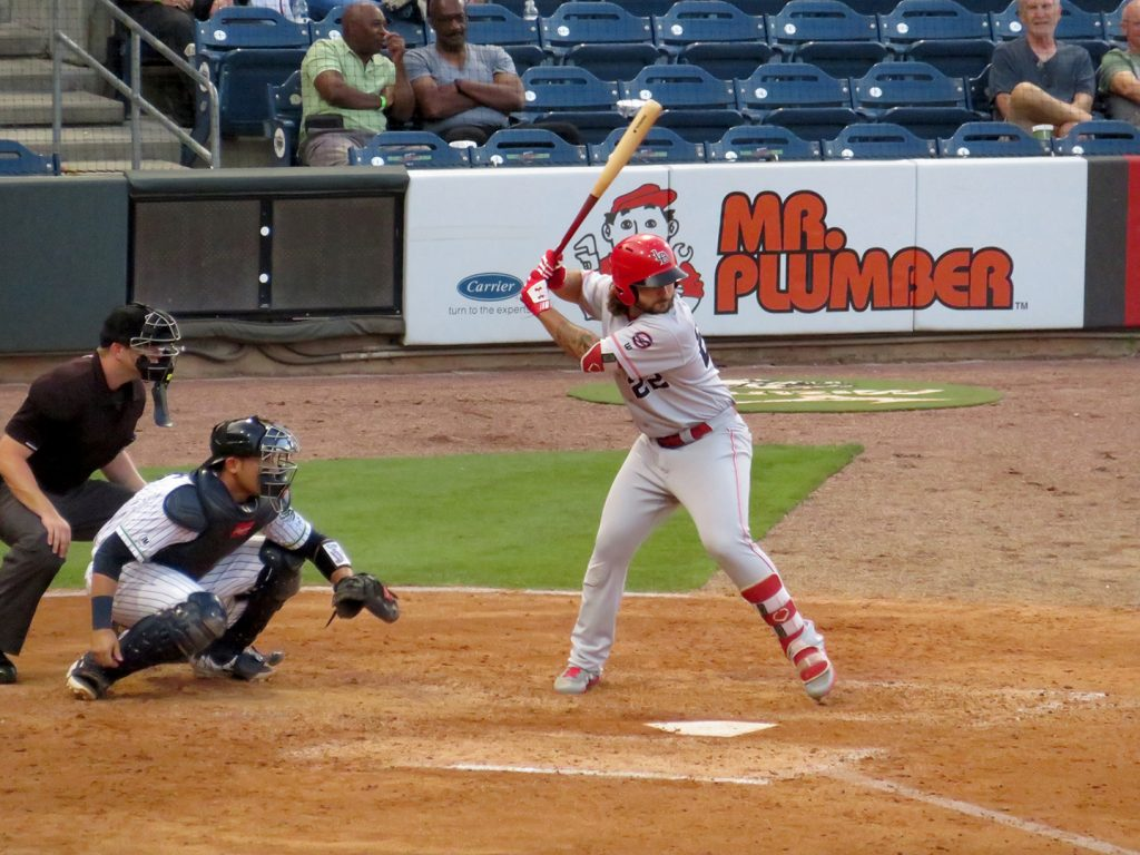 Louisville Bats right-handed batter Nick Longhi await a pitch during a game.
