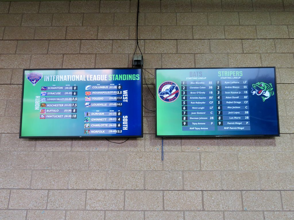 Two flat-screen TVs with one on left displaying International League standings and one on right showing starting lineup for the game.