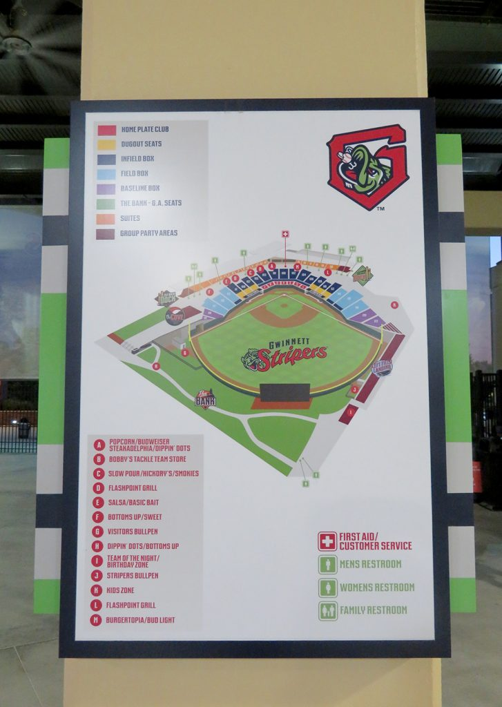 "Map of baseball stadium with labels showing different concession stands with ""Gwinnett Stripers"" text across the outfield grass of the map."