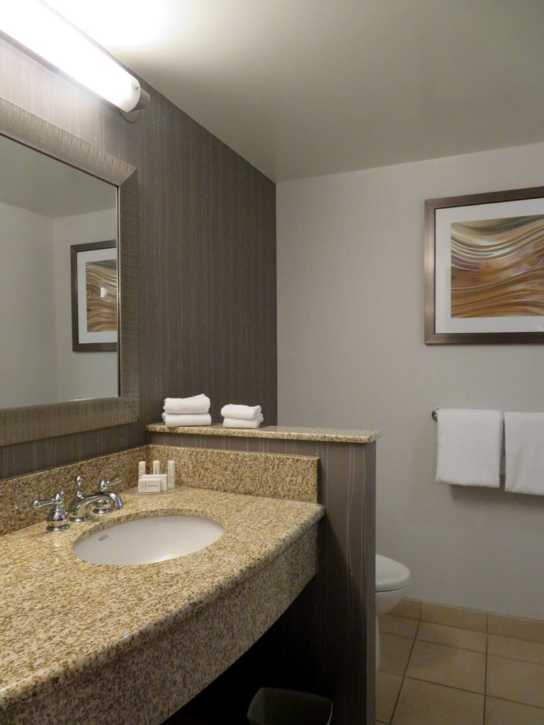 Overview of bathroom counter with small wall hiding a toilet.