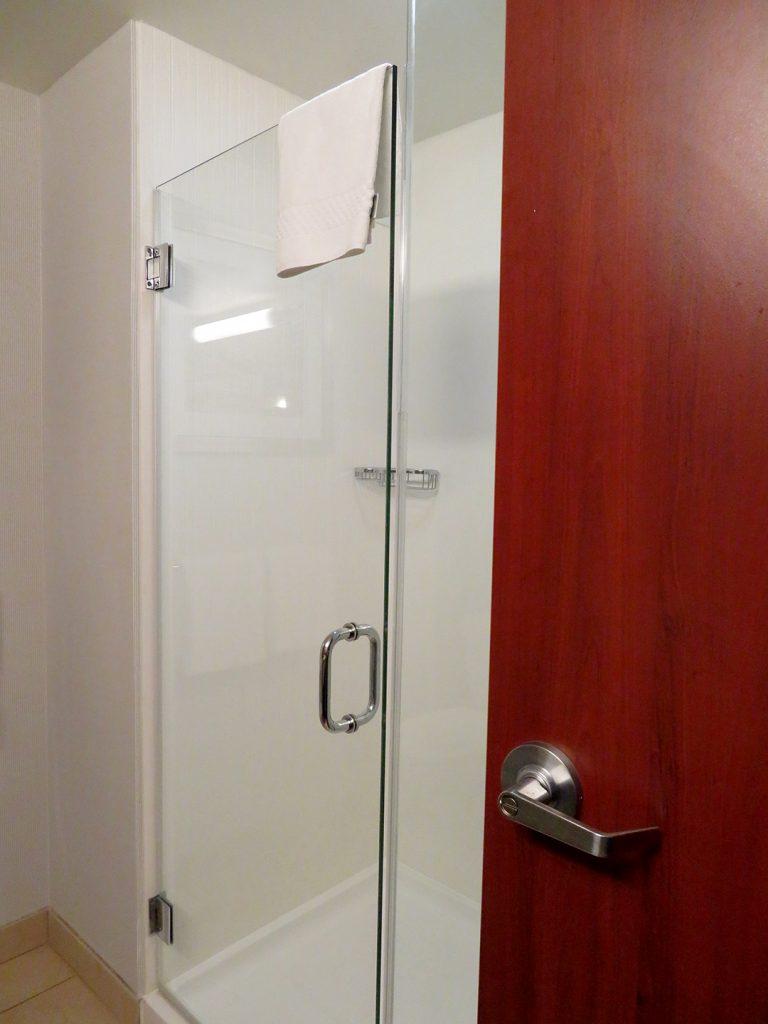 Glass shower door with wooden bathroom door open on the right.