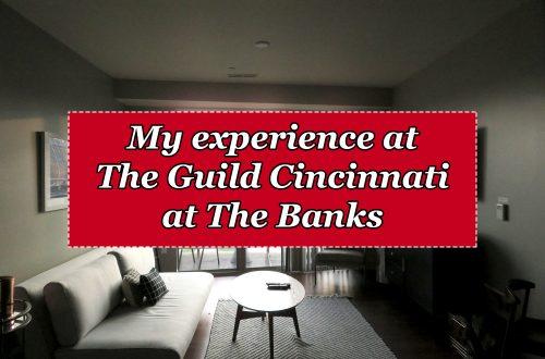 "Overview of a living room into a patio with a textbook overlaying it that says ""My experience at The Guild Cincinnati at The Banks."""