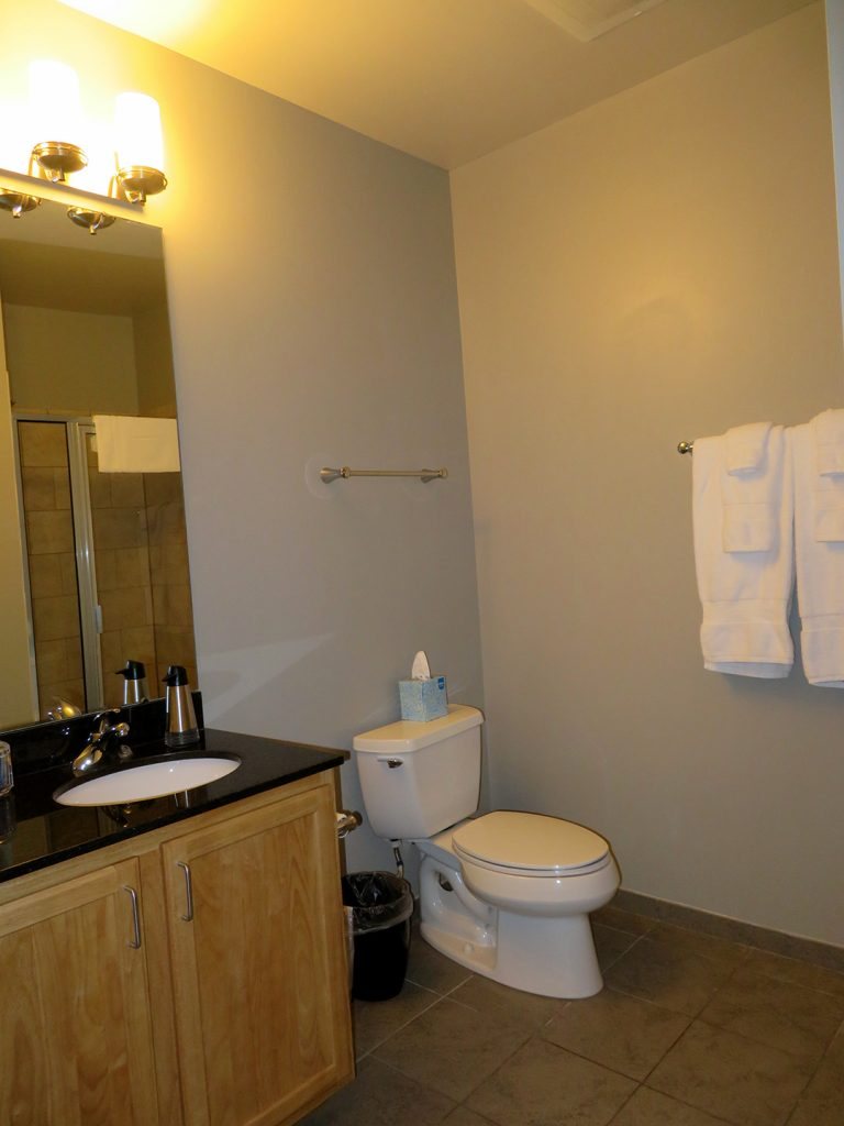 View of a bathroom counter and toilet with towels hanging up.