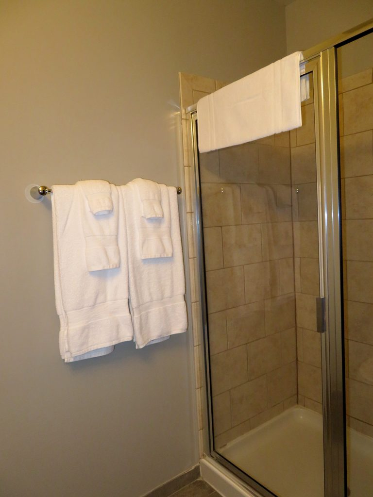 Diagonal view of a large glass shower stall with two sets of towels hanging up on the wall.