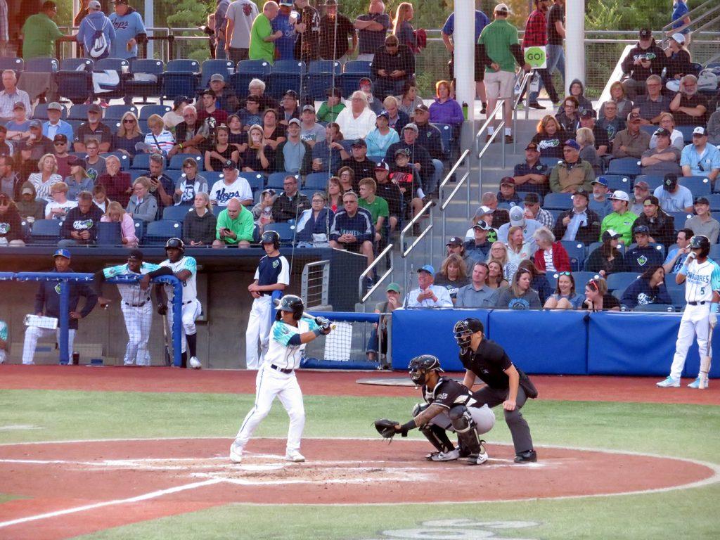 Hillsboro Hops left-handed batting Jorge Barrosa batting.