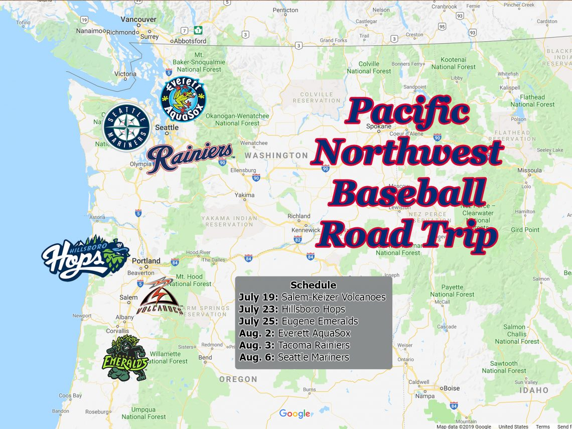 "Map of Oregon and Washington State with multiple baseball team logos and text overlaying that says ""Pacific Northwest Baseball Road Trip."""