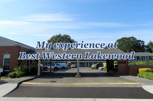 "Car port entry to a motel with text overlaying that says ""My experience at Best Western Lakewood."""