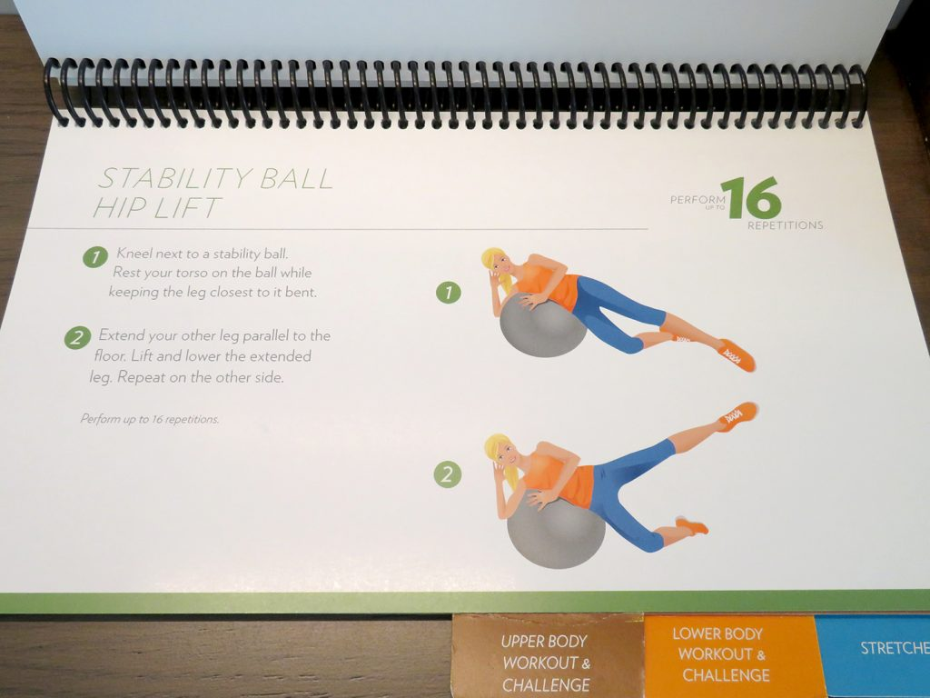 On the right is an image of a woman using an stability ball to perform a hip lift with text on the left describing the movement.