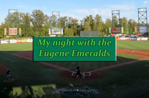 "Overview of a baseball stadium with a text box that says ""My night with the Eugene Emeralds."""