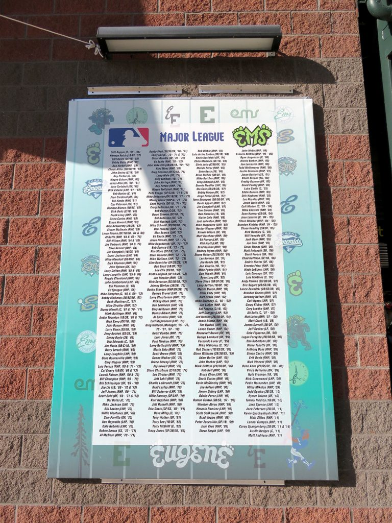 A banner with a list of Eugene Emeralds players who reached the Majors.