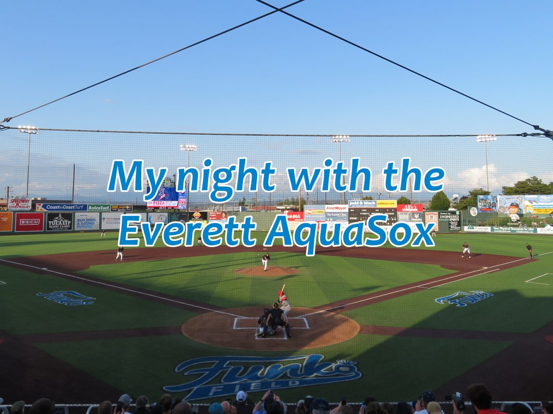 "Overview of a baseball field from behind home plate with text overlaying it that says ""My night with the Everett AquaSox."""
