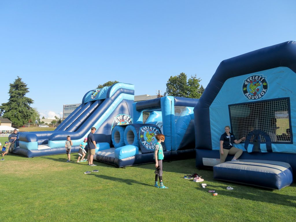 Pair of large inflatable slides and bounce house on a grass field.