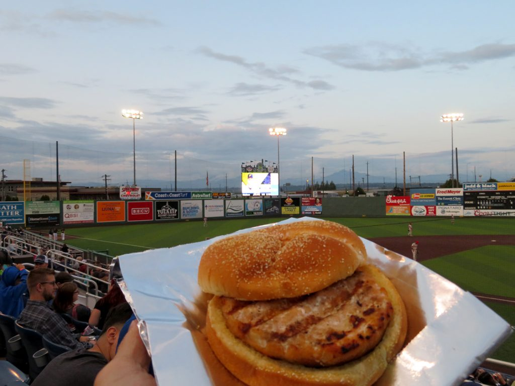 A salmon burger on a bun with a baseball field in the background.