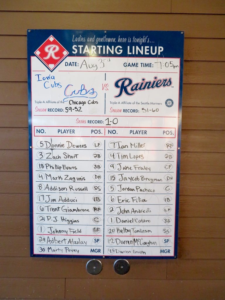 A rectangular white board with the starting lineups for the Iowa Cubs and Tacoma Rainiers.