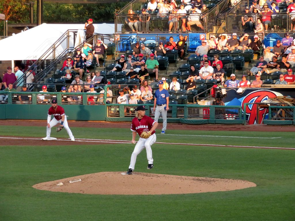 Tacoma Rainiers right-handed pitcher Darren McCaughan preparing to deliver a pitch.