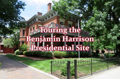 "Diagonal view of a three-story, brick Italianate house with ""Touring the Benjamin Harrison presidential site"" overlaying the image."