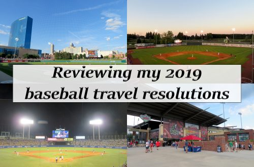 """Four photograph collage of baseball fields with a white box in the center and text that says """"Reviewing my 2019 baseball travel resolutions."""""""