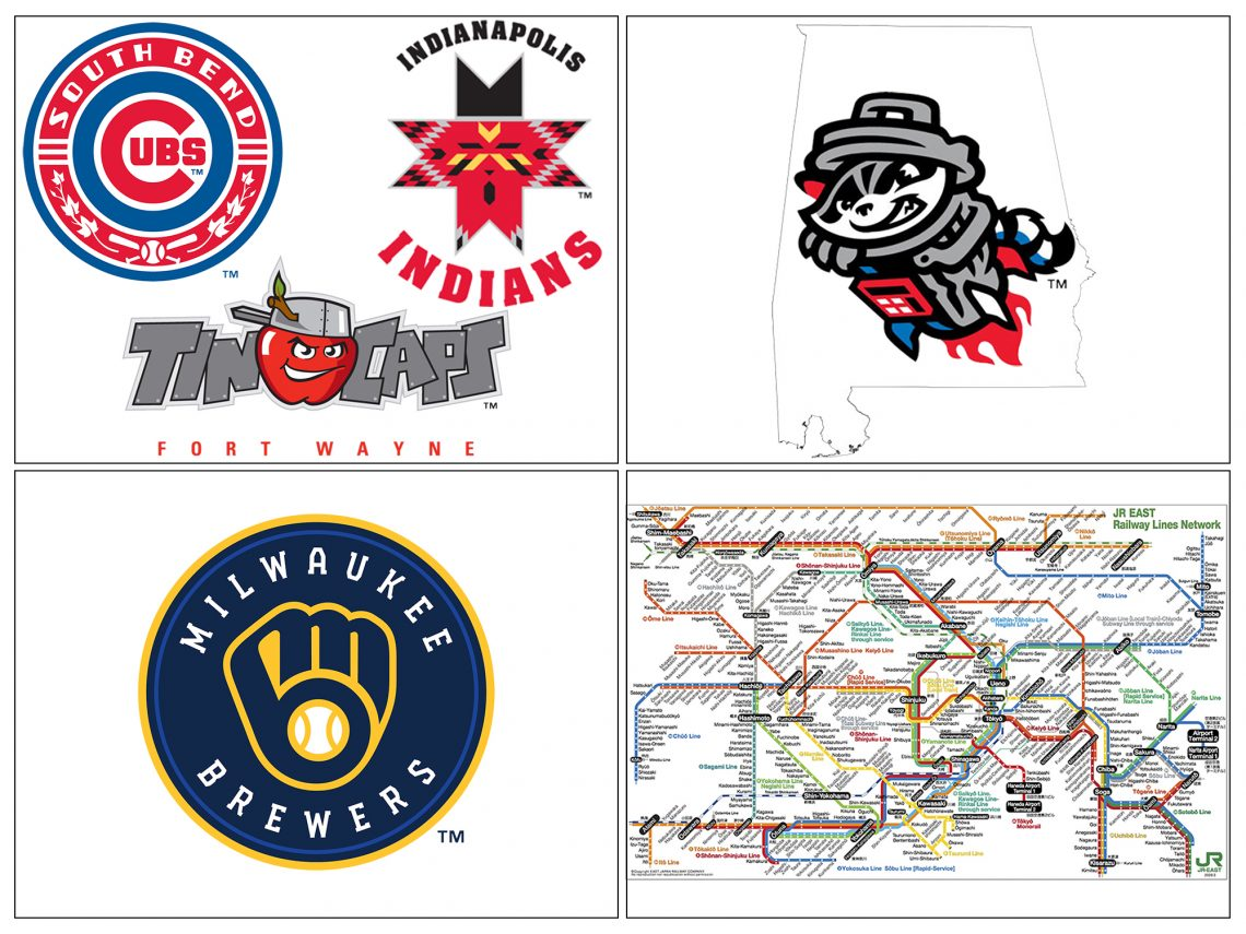 Collage with four boxes for 2020 ballpark resolutions. Upper left contains logos for Indianapolis Indians, Fort Wayne TinCaps, and South Bend Cubs. Upper right contains logo of Rocket City Trash Pandas inside outline of Alabama. Bottom left contains Milwaukee Brewers logo. Bottom right contains JR East map of trains in Greater Tokyo.