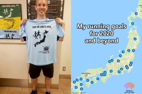 "Collage showing man on left holding t-shirt that says ""I ran the length of Japan"" with map of Japan's four largest islands and text overlaying it that says ""My running goals for 2020 and beyond."""