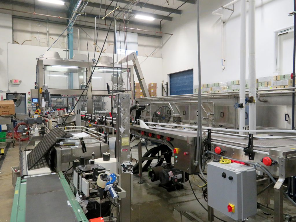 Overview of a packaging line at SakeOne.