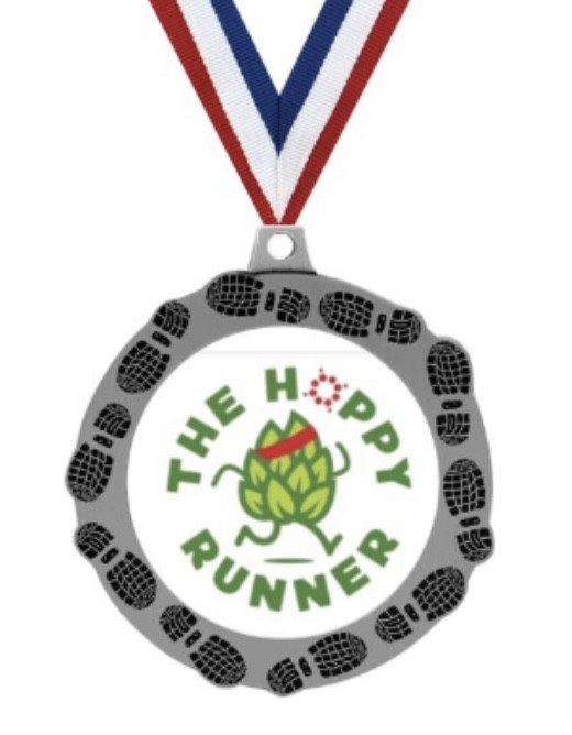 "Digital image of a circular medal with an anthropomorphic hop running with text that says ""The Hoppy Runner"" circling the hop."