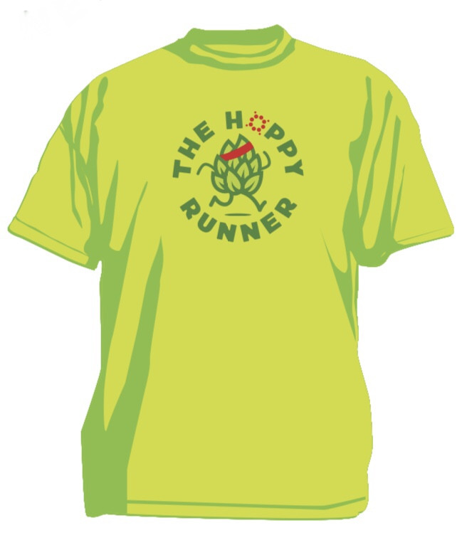 "Digital image of a neon green t-shirt with an anthropomorphic hop running with text that says ""The Hoppy Runner"" circling the hop."