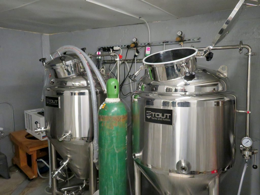 Two one-barrel fermentation tanks at Ridgewalker Brewing.