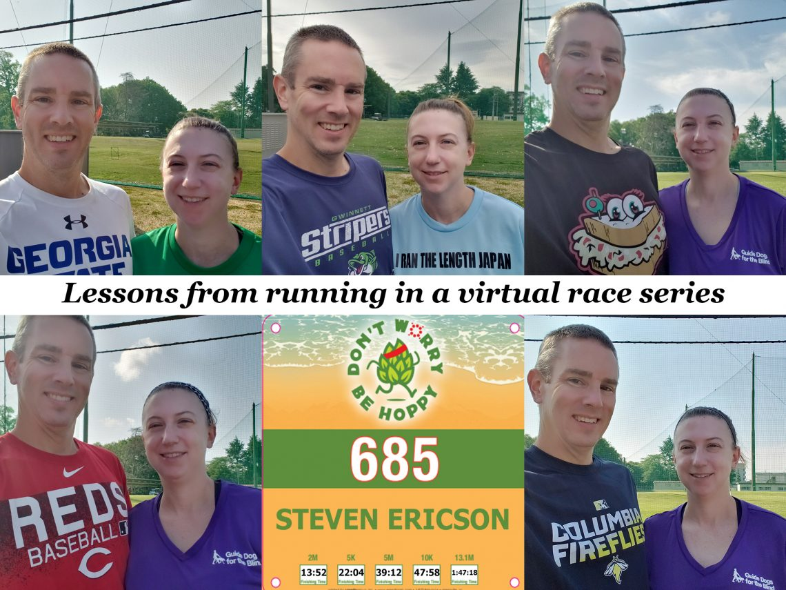 "Photo collage with six photos, five showing a man and woman standing together. Text in the middle says, ""Lessons from running in a virtual race series."""