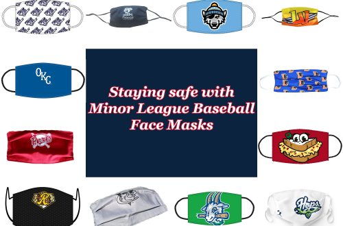 "Collage with multiple face masks surrounding a dark blue box with white text outlined in red that says, ""Staying safe with Minor League Baseball Face Masks."""