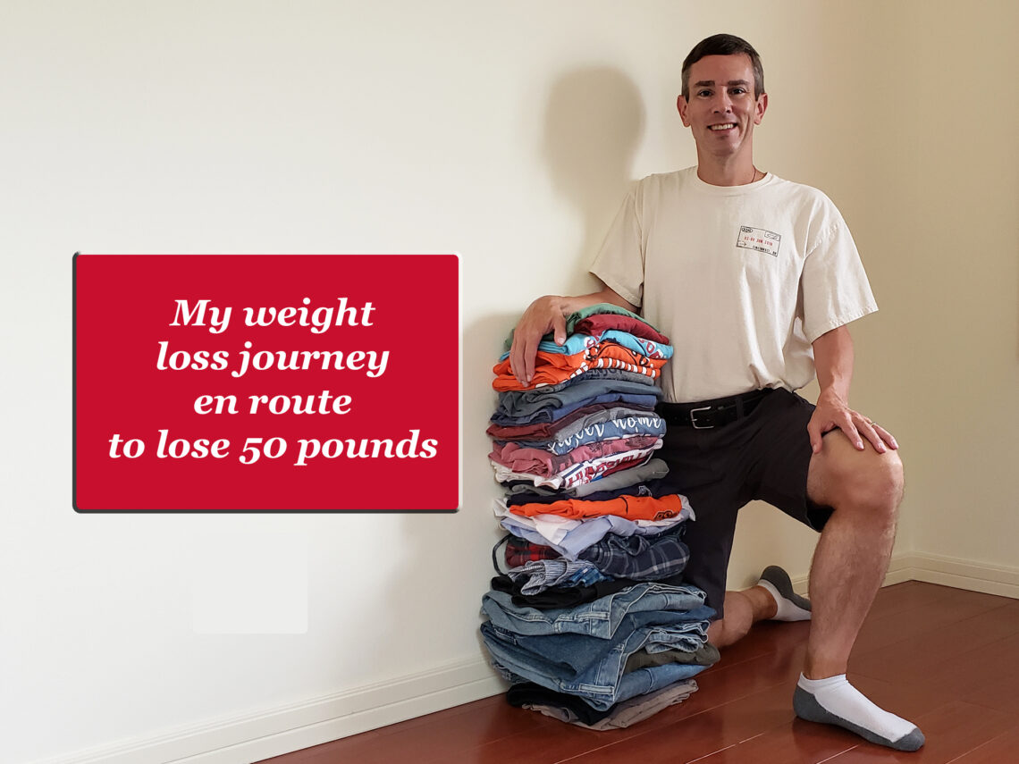 "A man kneels next to a stack over-sized clothes with a text box to the left that says ""My weight loss journey en rote to lose 50 pounds."""