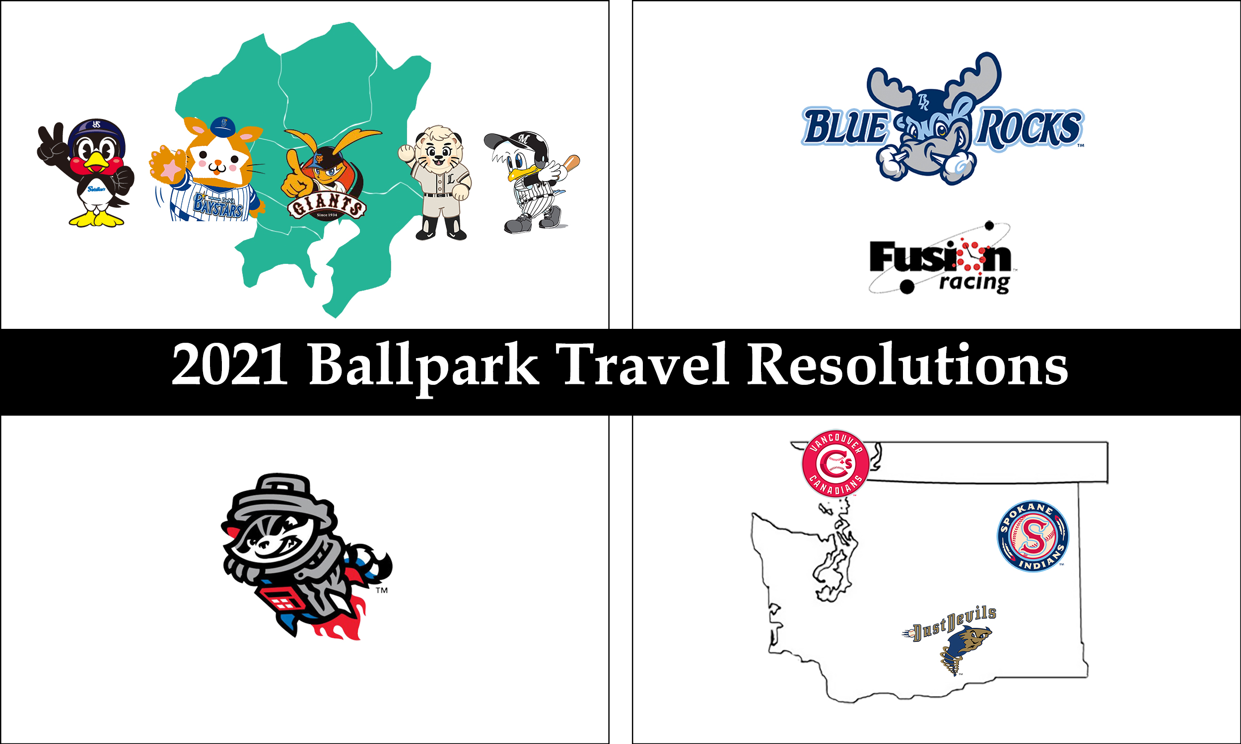 "Collage of with four images in each corner. Text across the middle says, ""2021 ballpark travel resolutions."""