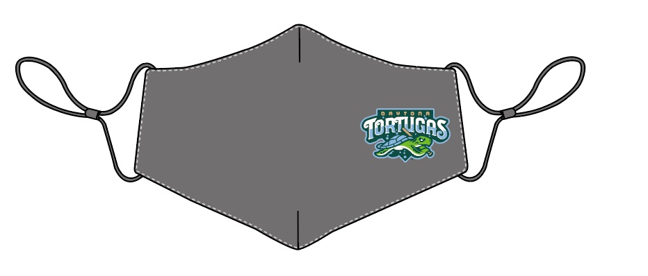 Minor League Daytona Tortugas face mask showing the team's primary logo on the right side of the image of a grey face mask.
