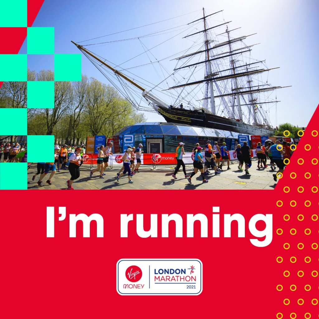 "A group of runners pass by a large boat with text below that says, ""I'm running"" with the London Marathon logo beneath."